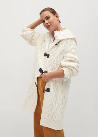 MANGO Manteau en tricot 'Mara' en crème, Vue avec modèle
