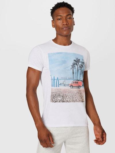 Petrol Industries Тениска в пъстро / бяло: Изглед отпред