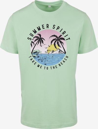 Merchcode T-shirt en bleu clair / menthe / mélange de couleurs / rose / noir: Vue de face