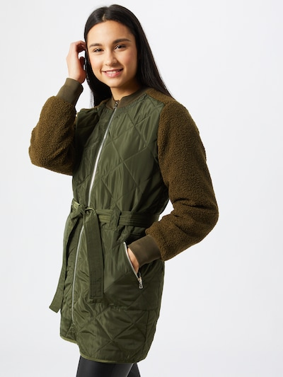 OBJECT Mantel 'Yasmin' in braun / dunkelgrün, Modelansicht