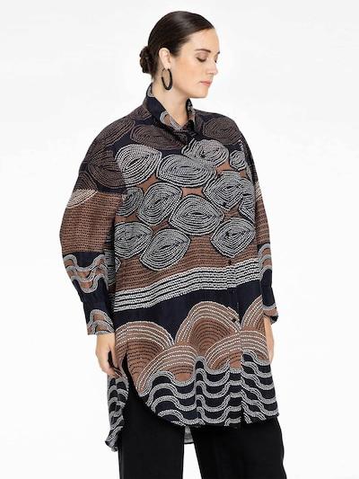 Yoek Blouse ' Mocha ' in Black / White, View model