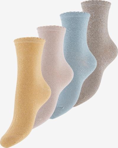 PIECES Socks 'Rhona' in Smoke blue / Mustard / Taupe / Light pink, Item view
