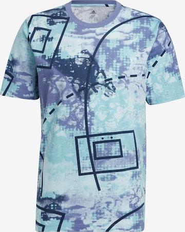 T-Shirt fonctionnel 'Throwback Allover' ADIDAS PERFORMANCE en bleu