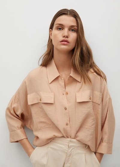 MANGO Bluse 'Karina' in puder, Modelansicht