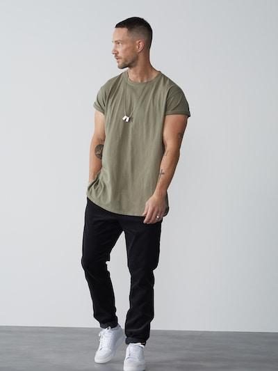 DAN FOX APPAREL Majica 'Luke' | kaki barva, Prikaz modela