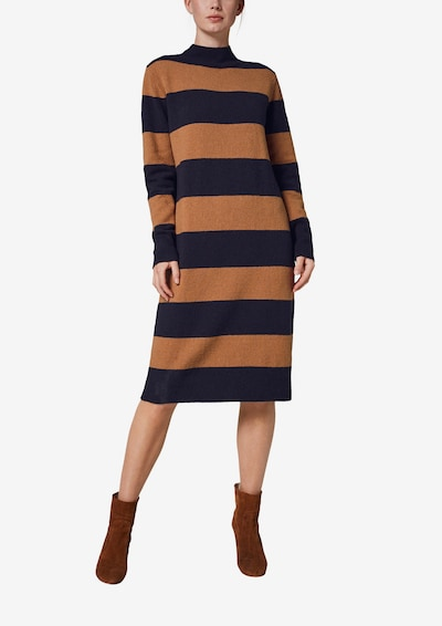 COMMA Knitted dress in Navy / Brown, View model