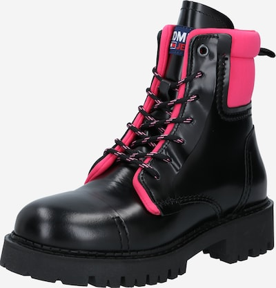 Tommy Jeans Lace-Up Ankle Boots in Pink / Black, Item view