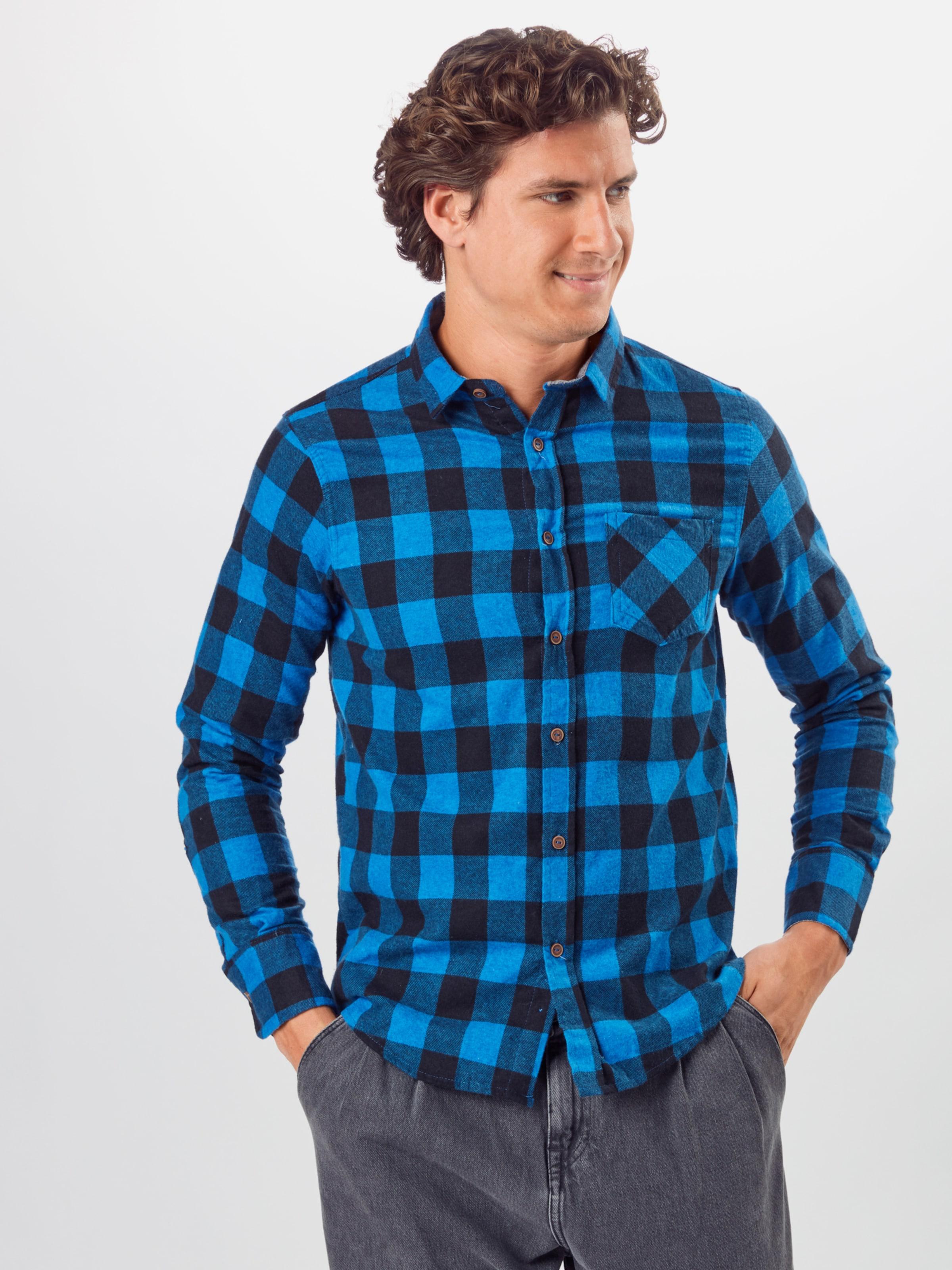BRAVE SOUL Hemd 'Jack' in blau / schwarz Baumwolle BRA0099001000001