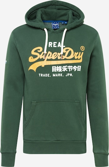 Superdry Sweatshirt in dunkelgrün / hellorange / weiß, Produktansicht