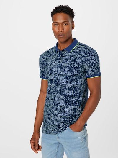 Petrol Industries Тениска в морскосиньо / неоново зелено: Изглед отпред