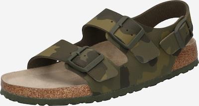 BIRKENSTOCK Sandaalit 'Milano' värissä vaaleanharmaa / khaki / tummanvihreä: Näkymä edestä