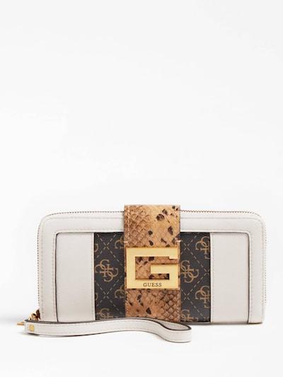 GUESS Portemonnaie in beige / dunkelbraun / weiß, Produktansicht