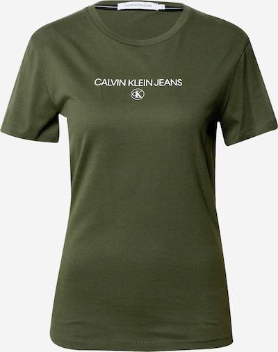 Calvin Klein Jeans Tričko - khaki / bílá, Produkt