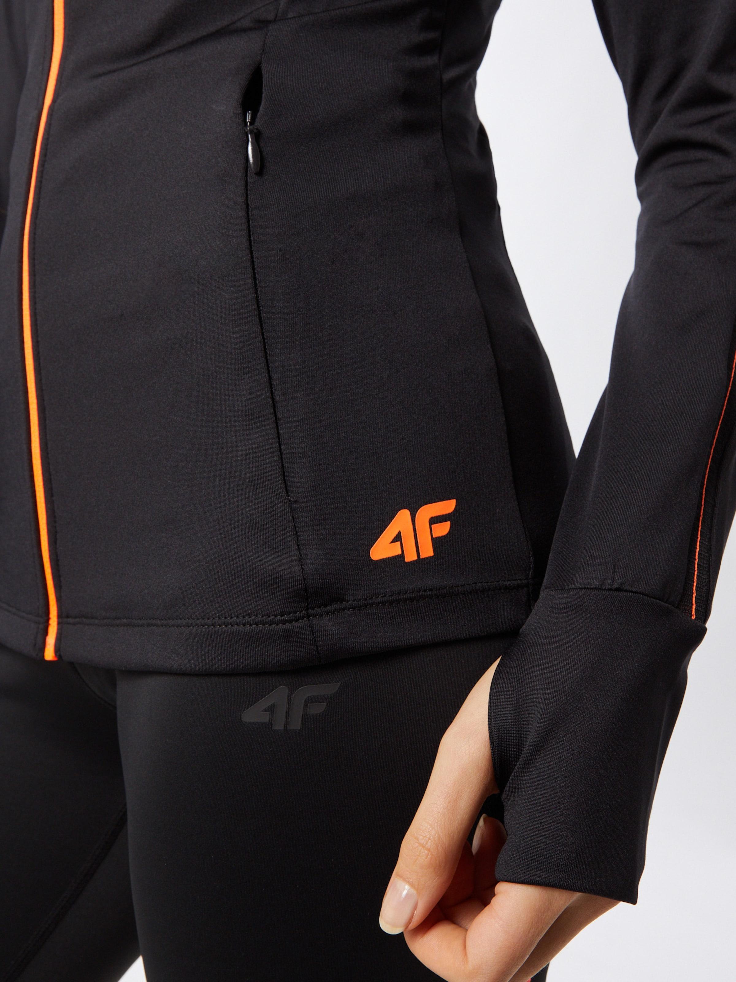 4F Sportsweatjacke in orange / schwarz