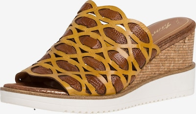 TAMARIS Pantolette i brun / gul, Produktvy