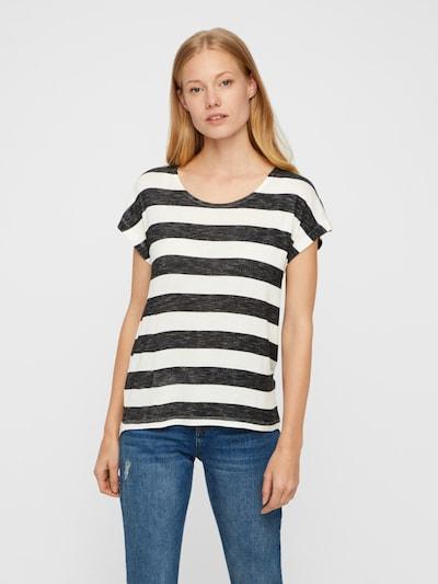 VERO MODA T-Shirt 'Wide' in schwarzmeliert / weiß: Frontalansicht