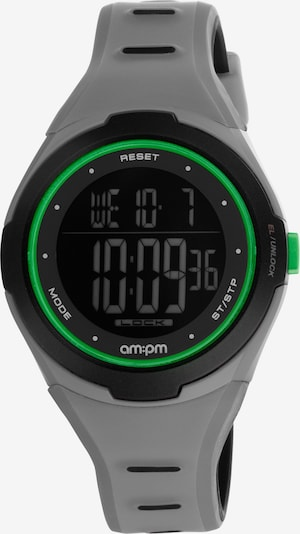 AM:PM Digitaluhr 'Modern electronic smooth sport watch' in grau / neongrün / schwarz, Produktansicht
