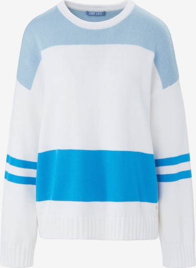 DAY.LIKE Rundhals-Pullover in blau / weiß, Produktansicht