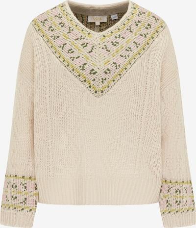 usha FESTIVAL Pullover in beige / schilf / grasgrün / hellpink, Produktansicht