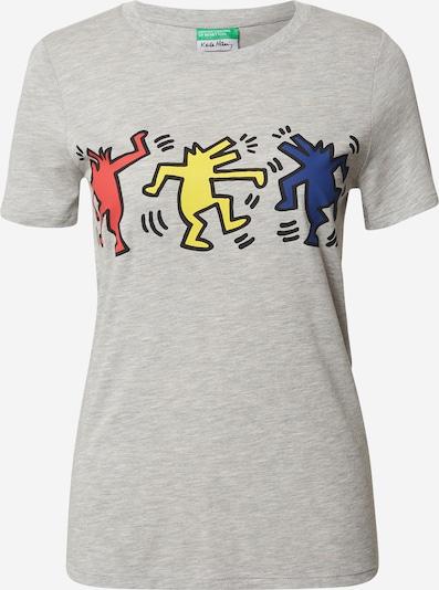 UNITED COLORS OF BENETTON Koszulka w kolorze niebieski / żółty / nakrapiany szary / czerwonym: Widok z przodu