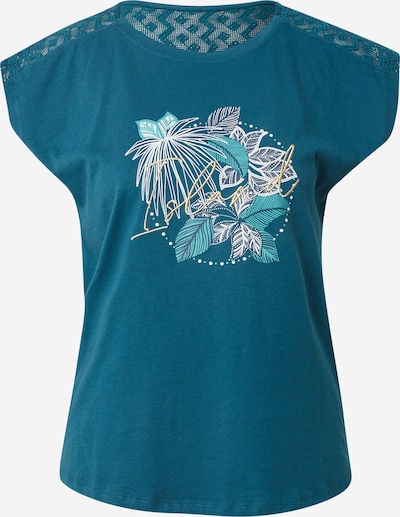 ETAM Chemise de nuit 'BETANIE' en turquoise / bleu foncé / jaune / blanc, Vue avec produit