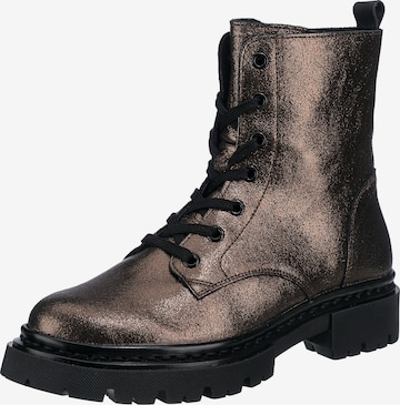JOLANA & FENENA Lace-Up Ankle Boots in Bronze