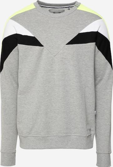Hailys Men Sweat-shirt en jaune fluo / gris chiné / noir / blanc, Vue avec produit