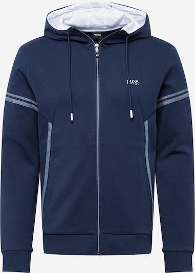 BOSS ATHLEISURE Zip-Up Hoodie 'Saggy' in Navy / Light grey / White, Item view
