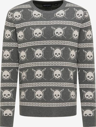 TUFFSKULL Pullover in basaltgrau / wollweiß, Produktansicht