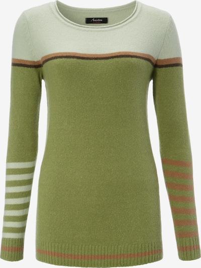 Aniston CASUAL Pullover in rostbraun / dunkelbraun / oliv / pastellgrün, Produktansicht