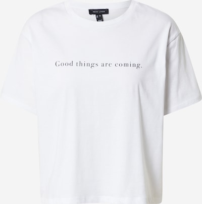 NEW LOOK Shirt 'GOOD THINGS ARE COMING' in de kleur Zwart / Wit, Productweergave