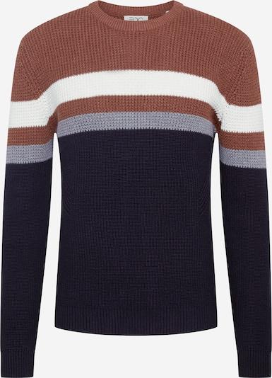 EDC BY ESPRIT Sweter w kolorze granatowy / podpalany niebieski / karmelowy / białym, Podgląd produktu