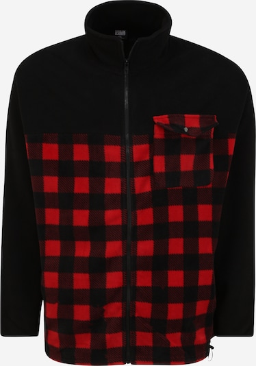 Urban Classics Big & Tall Flis jakna u crvena / crna, Pregled proizvoda