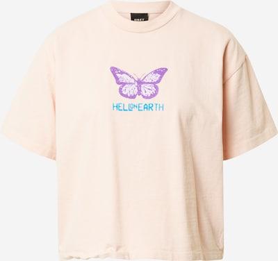 Tricou 'HELL ON EARTH' Obey pe azuriu / lila / portocaliu caisă / alb, Vizualizare produs