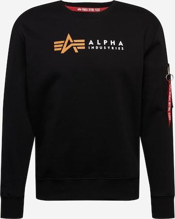 ALPHA INDUSTRIESSweater majica 'Alpha' - crna boja