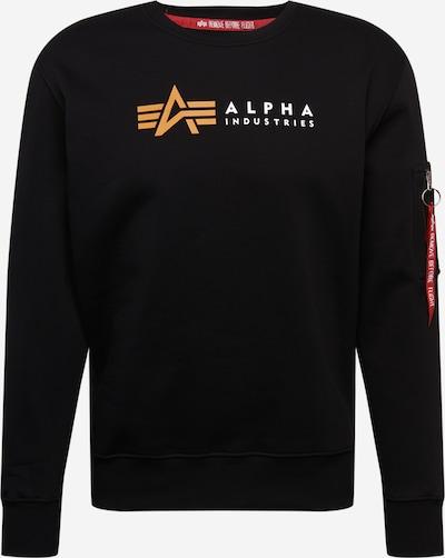 ALPHA INDUSTRIES Sweatshirt 'Alpha' in safran / schwarz / weiß, Produktansicht