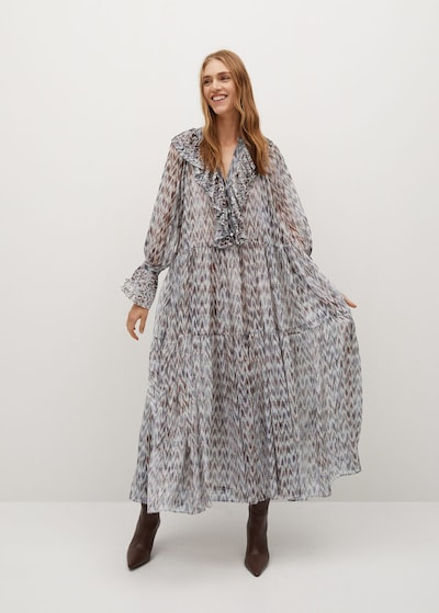 MANGO Kleid 'Saladeta' in nude / taubenblau / braun, Modelansicht