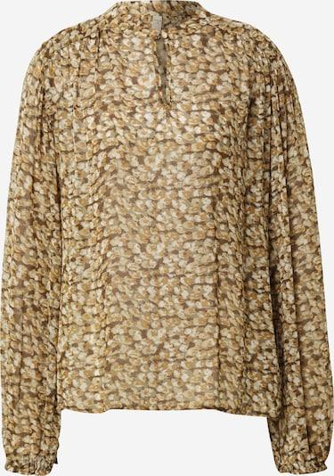 PULZ Jeans Bluse 'CORNELIA' in braun / brokat / khaki, Produktansicht