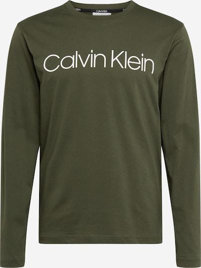 Calvin Klein Koszulka w kolorze oliwkowy / białym: Widok z przodu