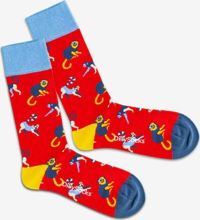 DillySocks Ponožky 'Baboon Fire' - modrosivá / svetlomodrá / žltá / zmiešané farby / červená, Produkt