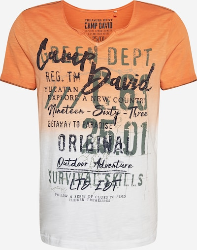 CAMP DAVID Shirt in de kleur Kaki / Sinaasappel / Zwart / Wit, Productweergave