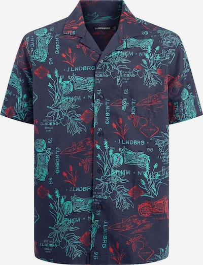 J.Lindeberg Overhemd 'Bob' in de kleur Navy / Jade groen / Rood, Productweergave