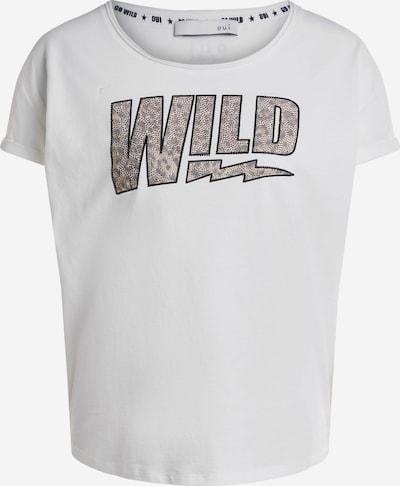 OUI T-Shirt 'Wild' in beige / weiß, Produktansicht