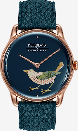 August Berg Uhr MORRIS & CO Rose Gold Bird Indigo Perlon 38mm in bronze, Produktansicht