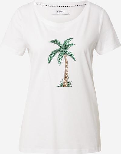 ONLY Majica 'KITA' u svijetlosmeđa / travnato zelena / bijela, Pregled proizvoda