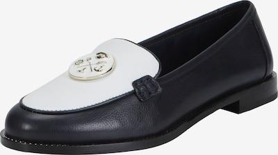 Ekonika Maritime Loafer aus körnigem Leder in blau / weiß: Frontalansicht
