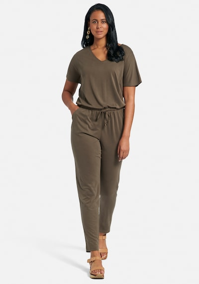 Emilia Lay Jumpsuit in de kleur Groen / Kaki, Modelweergave