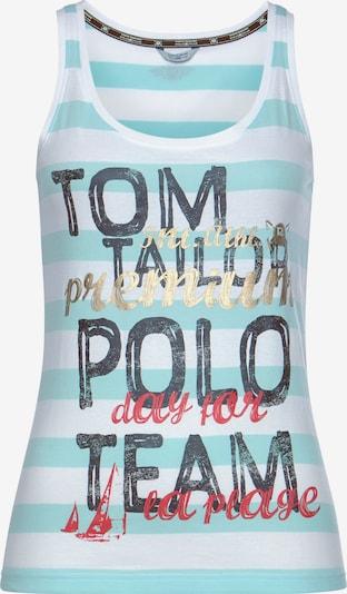 Tom Tailor Polo Team Top in türkis / dunkelblau / rot / weiß, Produktansicht