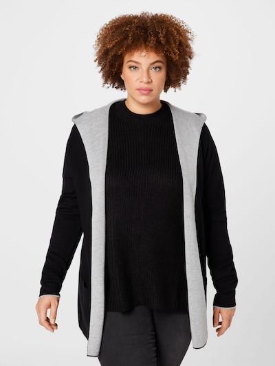 MY TRUE ME Knit Cardigan in Light grey / Black, View model