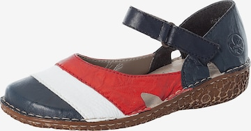 RIEKER Ballet Flats with Strap in Blue